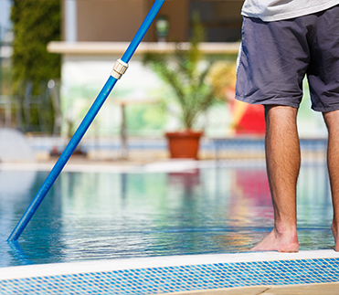 Scottsdale resident cleaning pool
